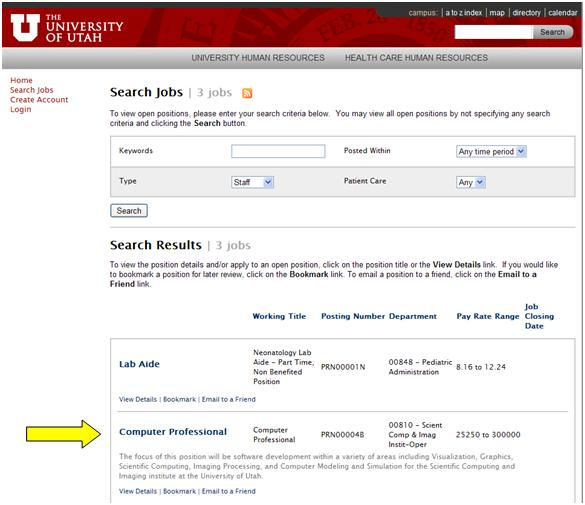 Application process staff the university of utah once on the search jobs page you will see the currently posted jobs in the type you selected you may also search for other job types here by selecting publicscrutiny Choice Image